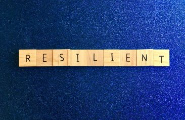 Resilient written out in wood blocks