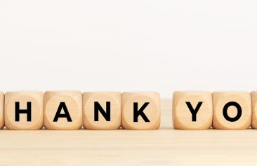 Blocks showing gratitude by saying thank you